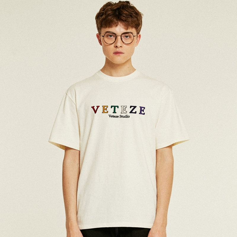 Rainbow Studio Half T-Shirts (cream)