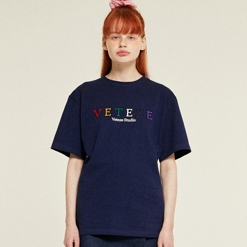 Rainbow Studio Half T-Shirts (navy)